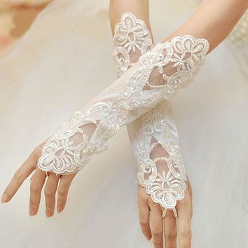 Arrival Real Pictures Elbow Length Wedding Gloves Fingerless Pearls Beaded Bridal Gloves
