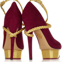 Charlotte Olympia Dolly Braid metallic leather and suede platform pumps – 59% at THE OUTNET.COM