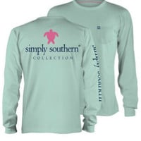 Simply Southern Classic Turtle Long Sleeve - Aqua
