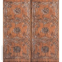 Spanish Style Hand Carved Prehung Double Door in Solid Mahogany