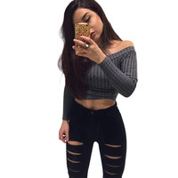 Sexy slash neck off the shoulder women tops European style long sleeve women top crop Girl summer 2016 black t-shirt women tops