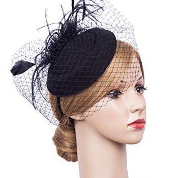 KCLASSIC Fascinator Hair Clip Pillbox Hat Bowler Feather Flower Veil Wedding Party Hat