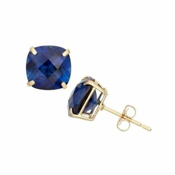 Estate 2 ctw Diamond Cut Blue Sapphire Round Stud Sterling Silver Earrings