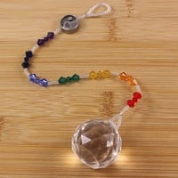 Yin Yang Beaded Rainbow Seven Chakra Window Suncatcher Prism Crystal
