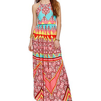 GB Geometric Floral-Print High-Neck Dress - Multi