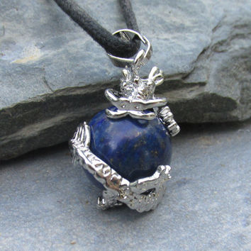 Lapis Dragon Pendant Necklace, Dragon Clutching Jewel, Choose Necklace Style, Midnight Blue Lapis Sphere, Dragon Lover Gift, Dragon Bezel