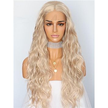 Long Beige Blonde Wave Synthetic Lace Front Wig