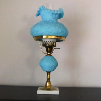 Vintage FENTON Blue Satin Poppy Table Lamp. Robins Egg Blue Lamp Shade.  Vintage Table