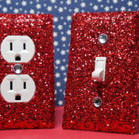 SET OF CHUNKY RED Glitter Switch Plate & Outlet Covers, Set of 2. ALL Styles Available!