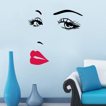 lips and eye Vinyl Wall Stickers for Home Decoration