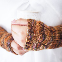 Hand Knitted Wrist Warmers . Hand Warmers . Fingerless Mittens . Soft . Ready to ship
