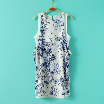 Summer Women's Fashion Print Chiffon Vest One Piece Dress [4917881732]