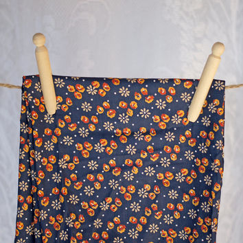 Vintage Cotton Print Fabric with Daisy Daisies and spots, Navy, Ecru, White Orange, Gold, Yellow, Mustard, Reddish-Brown Polka Dot