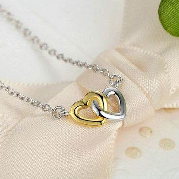 Luxury Original 925 Sterling Silver Gold-color Heart Charm Pendant for Women Necklace Solid Halo Stone Bracelet Charm
