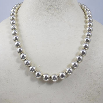 """Sterling Silver Beaded Necklace. Round Sterling Beads Strung On Chain. 17"""" Inches 45 Grams 9.3mm."""