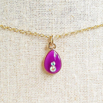 Tiny Teardrop Necklace, Dainty Purple Teardrop Necklace, Small Purple Necklace, Dainty Teardrop Necklace, Purple Resin Jewelry, Bridesmaid