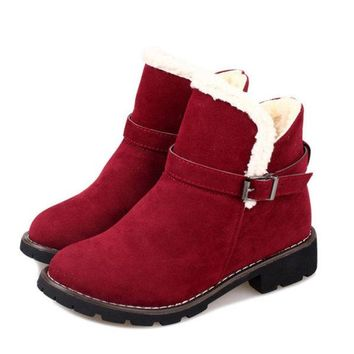 Buckle Ankle Fur Lined Flat Casual Boots For Women