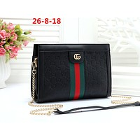 GUCCI tide brand female classic double G embossed chain bag shoulder bag Black
