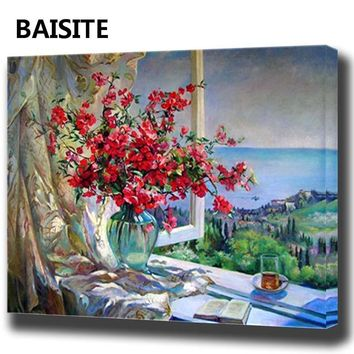 BAISITE DIY Framed Oil Painting By Numbers Animal Pictures Canvas Painting For Living Room Wall Art Home Decor Y5498