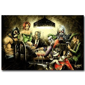 Batman Dark Knight gift Christmas NICOLESHENTING Joker Harley Quinn Playing Poker Art Silk Poster 13x20 24x36inch Batman Arkham City Game Pictures for Home Decor AT_71_6