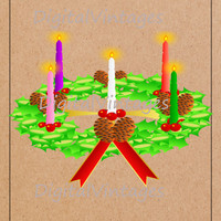 Advent Wreath Christmas Holiday Digital Image Download Printable Graphic Color Clip Art for Scrapbooking Prints SVG,jpg,png 300dpi