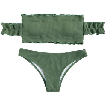 SweatyRocks Women's Sexy Bikini Set Solid Color Off Shoulder Bandeau Two Piece Swimsuit Green S