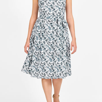 Leaf print cotton sash tie dress