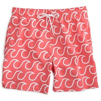 Surfs Up Swim Trunks in Sunset Red by Southern Tide - FINAL SALE