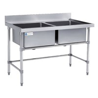 Compartment Sink - Double Sinks, AISI 201, 27 Kg, L 1800, TT-BC300C-1