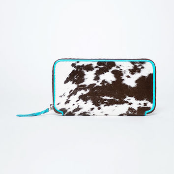 Wallet for women/ cow fur / inside full grain leather turquoise #49