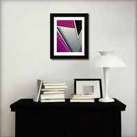 Abstract art print for home decor. Geometric print from original abstract painting with purple and silver.