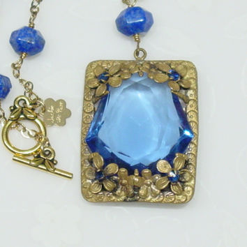 5 Vintage Quartz Pendant, blue Lapis beaded Necklace