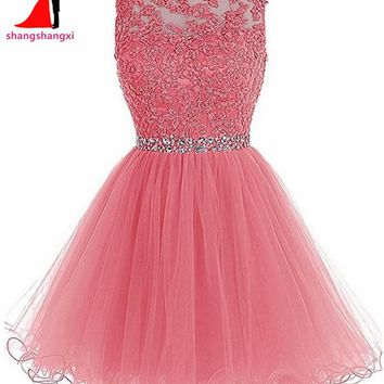 Many Colors Short Prom Dresses 2017 Cheap Plus Size Appliques Beads Ball Gown Party Homecoming Dress For Girls Vestidos De Festa