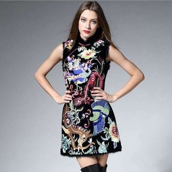 Runway Dresses 2016 Women High Quality Embroidery Dashiki Dress Plus Size Womens Sexy Dresses Party Night Club Dress XXL