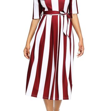 Chic Burgundy Stripe Print Half Sleeve Belted Midi Dress