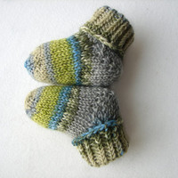 Newborn socks, gray green turquoise striped, thin wool baby booties, handknit, READY TO SHIP