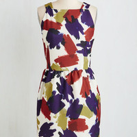 Mid-length Sleeveless Sheath Brush Into Print Dress