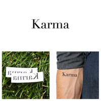 Quotes - Karma - Temporary Tattoo (Set of 2)