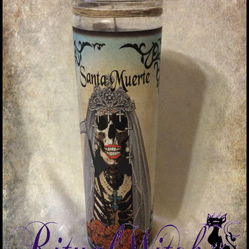 Hoodoo Santa Muerte Prayer Fixed 7 Day Candle Voodoo Witchcraft