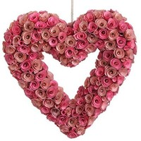 "RAZ Imports - Spring Valentine Easter - 19"" Pink Rose Heart Wreath / Ornament"