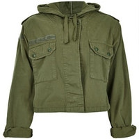 Hooded Crop Army Jacket