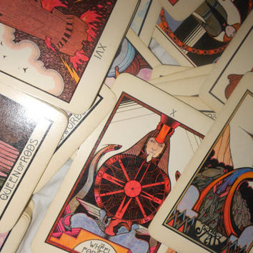 Aquarian Tarot Cards Vintage With Instructions Deck 1975 Hippie Vintage 78 Card Deck Cartomancy Fortune Telling