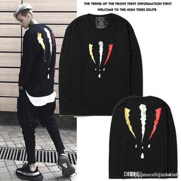 2017 Autumn Winter Nnational Hoodie Tide New Three-color Second-Generation Scratches Loose Long-sleeved Round Neck Sweater Hoodie Tops