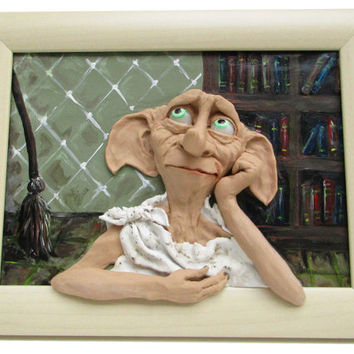 Dobby, Free Dobby, Harry Potter, Funny 3d wall art, Polymer clay picture, Handmade, 3D picture