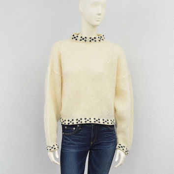 Vintage 80s Hand Knit Mohair Off White Oversized Sweater, Polka Dot Cropped Sweater, Fuzzy Hipster Sweater, High Collar Sweater