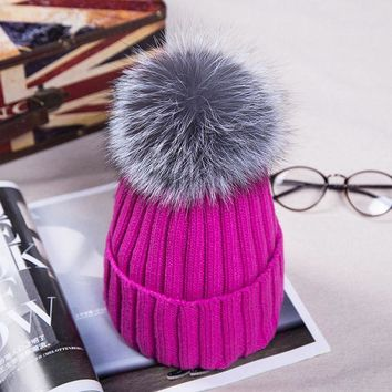 DCCKJG2 12cm Real Fox Fur Pom Poms Knitted Beanies Winter Hat For Women Girl 's Skullies Warm Hat