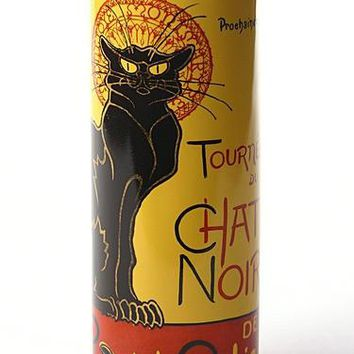 Steinlen Le Chat Noir Black Cat Ceramic Flower Bud Vase 7H