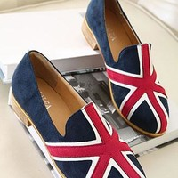 Mixing Color Union Jack Print Loafers