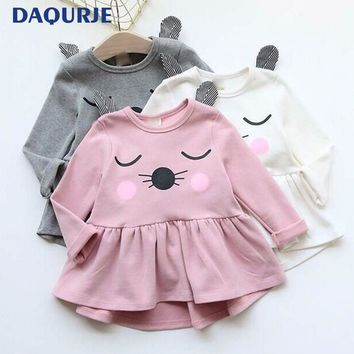 Hot Casual Cute Kids Clothes Autumn Winter Girls Dress Cotton Full Sleeve Cat Ears Hello Kitty Baby Dresses Children Clothing