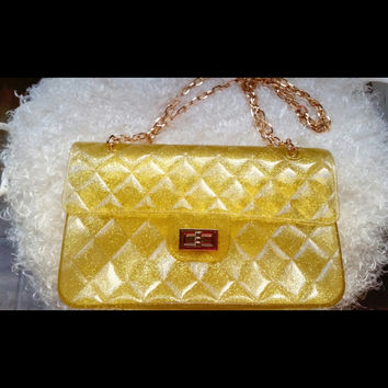 Luxe Gold Glitter Jelly Quilted Purse, Shoulder Or Cross Body, Convertible Chain Strap (Small/Indie Brands)